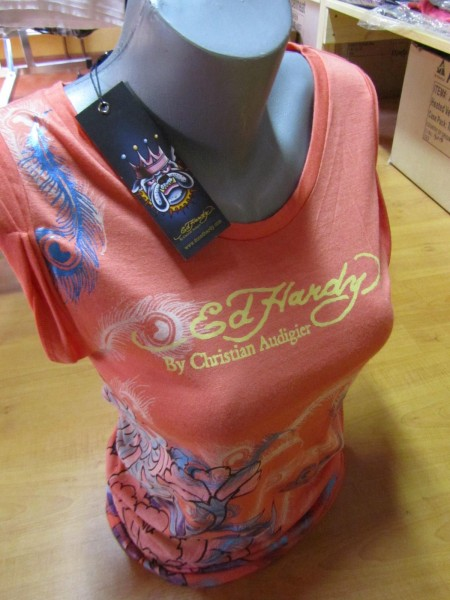 Ed Hardy Frauen Rolled-Up Tee Peony&Bud Gr. XL