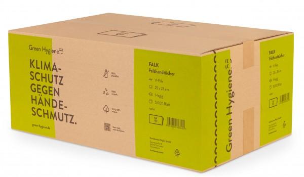 FALK - Green Hygiene Papierhandtücher, Z-Falz, 25x23cm, 5000 Blatt - 100% CO2-neutral - 100% plastik
