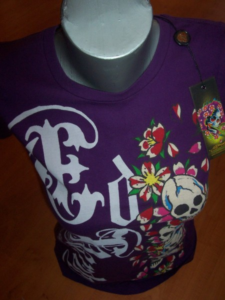 Ed Hardy Frauen Shirt Gothic Skulls&Cherry Blossoms Gr. L
