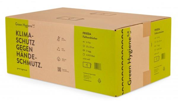 FRIEDA - Green Hygiene Papierhandtücher, Z-Falz, 25x23cm, 2-lagig, 4000 Blatt, hochweiß,100% CO2-neu