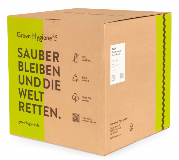 Rolf - Green Hygiene Toilettenpapier Kleinrolle, 2-lagig, 500 Blatt, 100% Recycling, plastikfrei